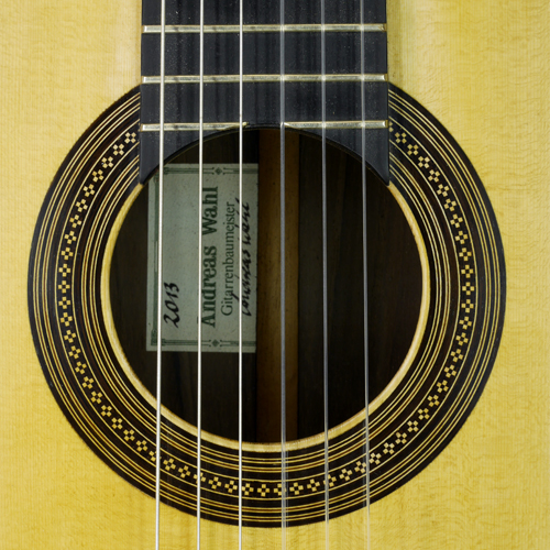 rosette and label of Andreas Wahl classical guitar spruce, rosewood, year 2013