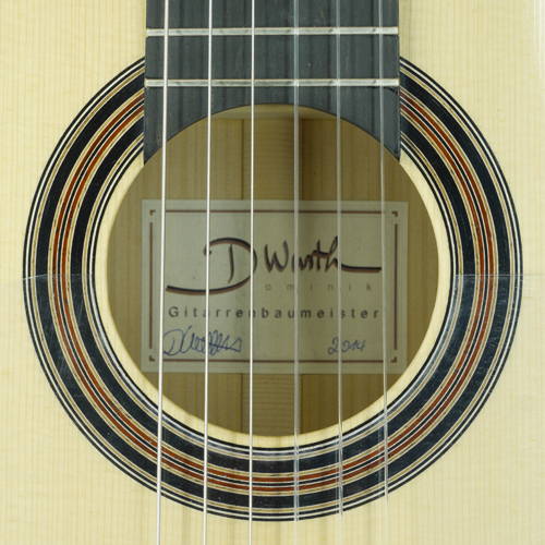 rosette and label of Dominik Wurth Flamenco guitar spruce, cypress, year 2014