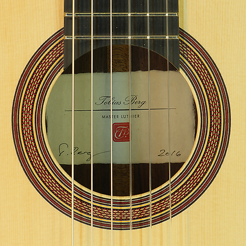 Rosette and label of classical guitar by Tobias Berg spruce, rosewood, scale 65 cm, year 2016